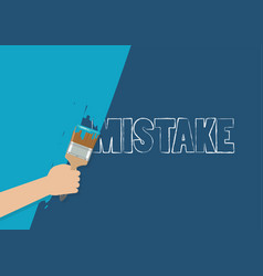 Hand painting to cover mistake vector