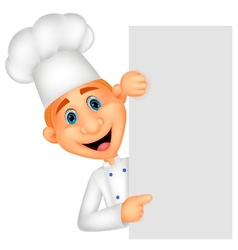 Happy chef cartoon holding blank sign vector image