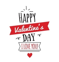 Happy Valentines Day card design with ribbon vector image