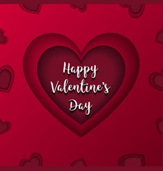happy valentines day greeting card red heart in vector image