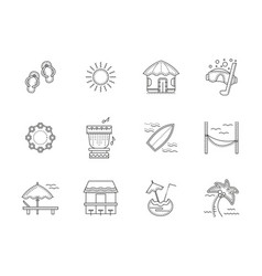 hawaii resort flat line icons set vector image
