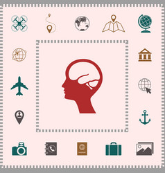 head with brain symbol icon elements for your vector image