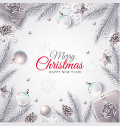 Holiday banner with decorations in silver vector