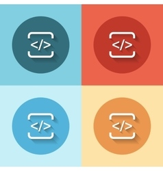 html flat icon set vector image