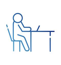 Human figure in laptop computer avatar gradient vector