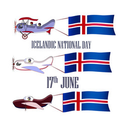 icelandic national day set with three planes vector image
