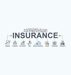 Insurance banner web icon for business vector