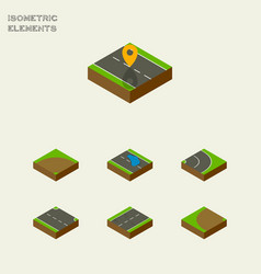 Isometric road set of navigation plash sand vector
