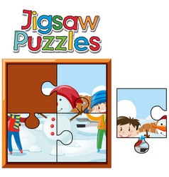 jigsaw puzzle pieces of kids and snowman vector image