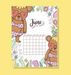 June calendar with cute bears animal vector