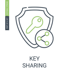 Key sharing icon with outline style and editable vector
