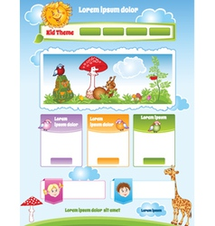 Kid theme for web template vector image