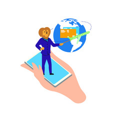 lion stand on phone pointing on earth with plane vector image