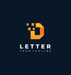 logo letter d flat color line art vector image