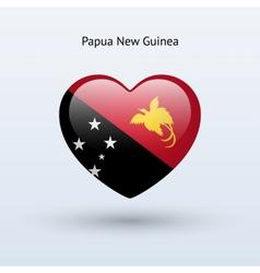 Love Papua New Guinea symbol Heart flag icon vector image