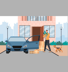 male character is moving to a new house vector image