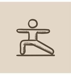 Man practicing yoga sketch icon vector image