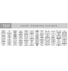 mega set 150 doodle sketch drawing divider vector image
