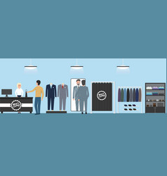 Men clothing shop banner with shopping people vector