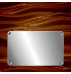 Metal plate on wooden surface vector