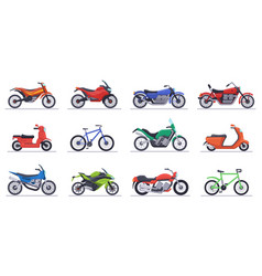 motorcycles and scooters motorbike speed bikes vector image