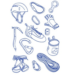 Mountain Climbing - doodle style vector image