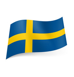 National flag of sweden yellow cross on blue vector