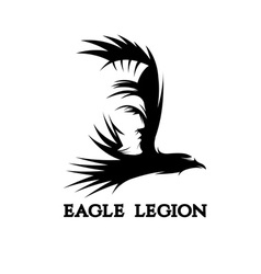 Negative space concept of warrior head in eagle vector