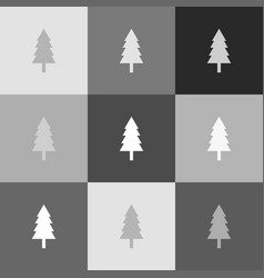 New year tree sign grayscale version of vector
