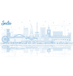 Outline sochi russia city skyline with blue vector