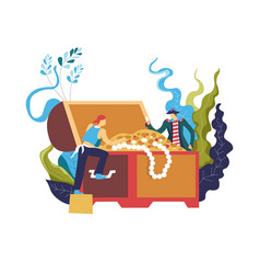 pirate stealing treasury box full wealthy vector image