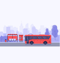 Public transport stop and autobus bus stop vector