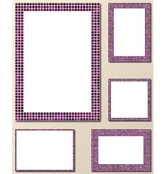 Purple pixel mosaic page layout border set vector