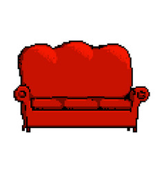 red pixel sofa isolated on white vector image