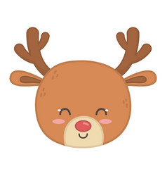 Reindeer head horns decoration merry christmas vector