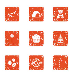 Rejoicing icons set grunge style vector