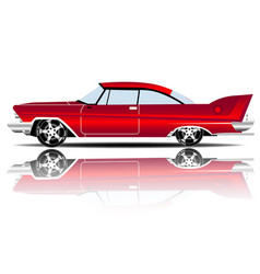 Retro car red color white background image vector