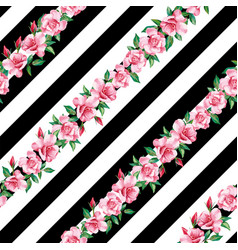 rose seamless pattern black white stripe vector image