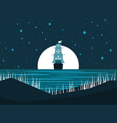 Sailing ship at night against the full moon vector