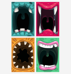 Scary monster mouth creepy posters set vector