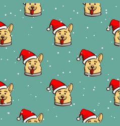 seamless pattern smiling dog vector image