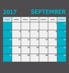 September 2017 calendar week starts on Sunday vector