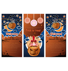 set of halloween night colorful backgrounds vector image