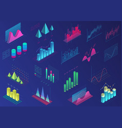 set of vivid colorful infographic elements for ui vector image