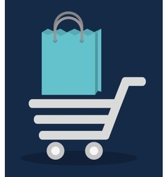 Shopping cart bag online store market icon vector