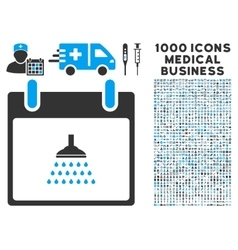 Shower calendar day icon with 1000 medical vector
