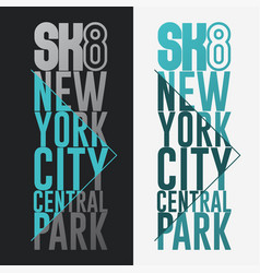 skateboarding print new york t-shirt graphic vector image