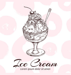 Sketch ice cream in glass bowl vector