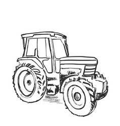 Sketch of tractor hand drawn agricultural vector