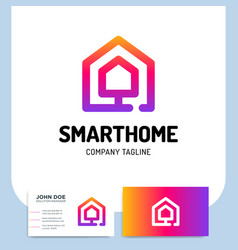 Smart or technology home logo in line style with vector